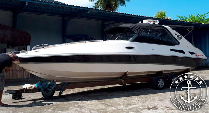 lancha a venda new magnum 30 com um motor mercruiser tdi 260 hp diesel barco usado seminovo